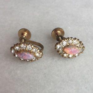 Vintage 1950s Dainty Faux Opal Screw Back Earrings